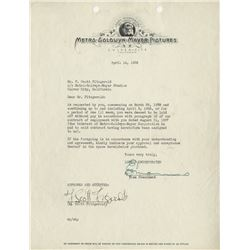 Fitzgerald, F. Scott. Typed letter signed, on MGM letterhead stationery, 14 April 1938.