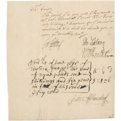 Flamsteed, John. Rare financial document signed, 29 June 1695.