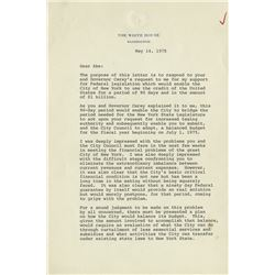 Ford, Gerald R. Typed letter signed as President, Washington, D.C., 14 May 1975.