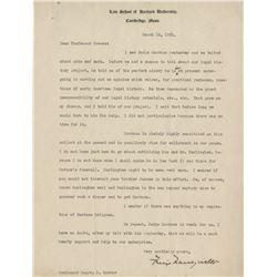 Frankfurter, Felix. Typed letter signed, Cambridge, Massachusetts, 14 March 1931.