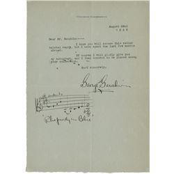 Gershwin, George. Typed letter signed with autograph musical quotation, 22 August 1926.