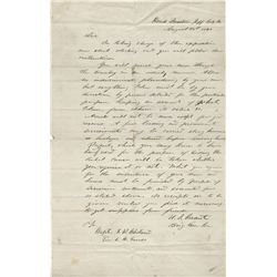 Grant, Ulysses S. Early Civil War-date autograph letter signed, 25 August 1861.