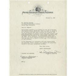 Hammett, Dashiell. MGM typewritten agreement signed, 12 January 1938.