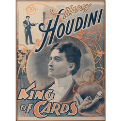 Houdini, Harry. King of Cards color lithographic poster.