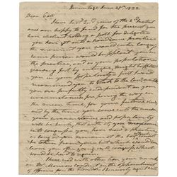 Jackson, Andrew. Autograph letter signed, 29 June 1822.