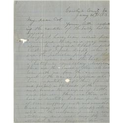 """Jackson, Thomas J. """"Stonewall"""". Exceptional Civil War-date autograph letter signed, 21 January 1863."""