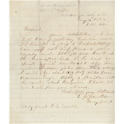 """Jackson, Thomas J. """"Stonewall"""". Civil War-date autograph letter signed, 14 May 1862."""