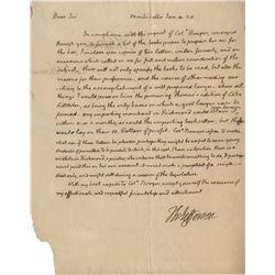 Jefferson, Thomas. Autograph letter signed, Monticello, 4 Jan. 1824.