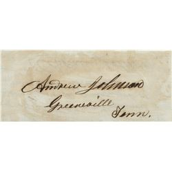 Johnson, Andrew. Autograph note signed with an additional signature as Vice President.