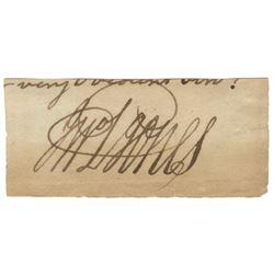 Jones, John Paul. Very rare signature penned on a leaf.