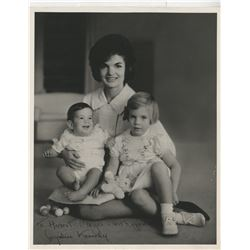 Kennedy, Jacqueline. Signed photograph with children Caroline and John, Jr.