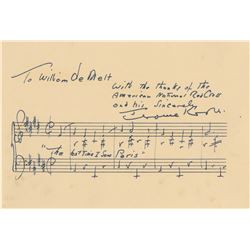 Kern, Jerome. Signed sheet music, typed letter signed and autograph musical quotation signed.