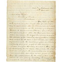 Lee, Robert E. Autograph letter signed, April 25, 1862.