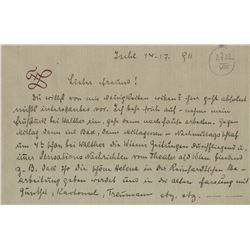 Lehár, Franz. Autograph letter signed, 14 July 1911.