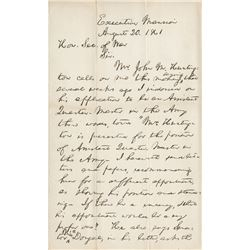 Lincoln, Abraham. Autograph letter signed, 20 August 1861.