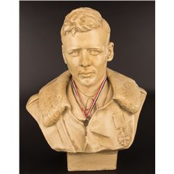 """Lindbergh, Charles A. """"Key to Kansas City, Missouri"""" with display bust and painting."""