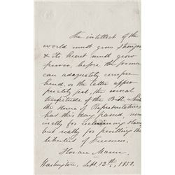 Mann, Horace. (2) Autograph letters signed, 12 September 1850 and 3 November 1853.