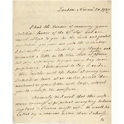 "Paine, Thomas. Important autograph letter signed, ""London"", 20 November 1787."