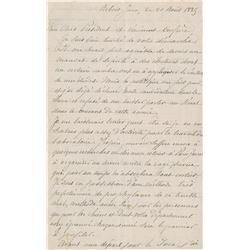 Pasteur, Louis. Autograph letter signed, Arbois, 21 August 1885.