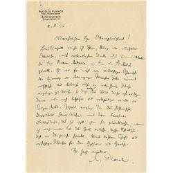Planck, Max. Autograph letter signed, 2 August 1942.