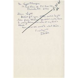 Reagan, Ronald. Autograph letter signed, 30 August 1968.