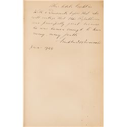 Roosevelt, Franklin D. Presentation book signed. Alexander Hamilton: An Essay on American Union.