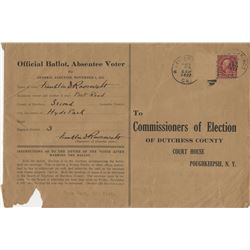 Roosevelt, Franklin D. Absentee voter registration document, completed and signed three times.