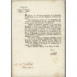 [Texas Revolution]. Tornel, José Maria de. Broadside signed, 2 May 1836.