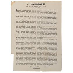 [Texas War of Independence]. Mozo, Jose Antonio. 1836 Texas broadside signed in print 23 July 1836.