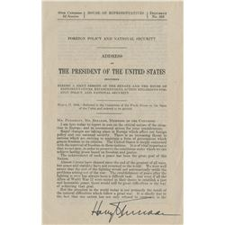Truman, Harry S. Speech signed as President, 17 March 1948.