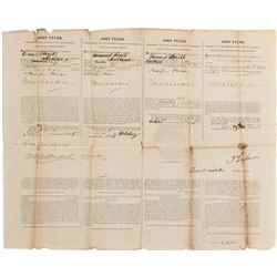 Tyler, John. Four Language Ship's Papers signed as President, 4 October 1845.