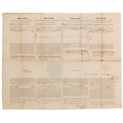 Tyler, John. Four Language Ship's Papers signed as President, 1 August 1842.