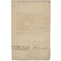 Washington, George. Letter signed as Commander of the Continental Army, 6 September 1776.