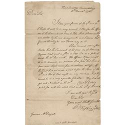 Washington, George. Important letter signed as Commander of the Continental Army, 14 November 1778.