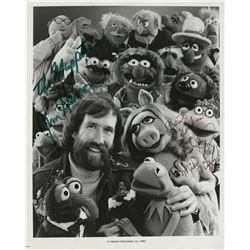 "Jim Henson signed photograph and signed original sketch of ""Kermit the Frog""."