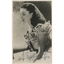 "Vivien Leigh as ""Scarlett O'Hara"" signed photo post card from Gone With the Wind."