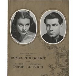 Vivien Leigh and Sir Laurence Olivier signed cover and (2) pages from a Romeo and Juliet program.