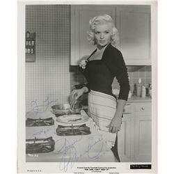 Jayne Mansfield signed photograph and vintage calendar print.