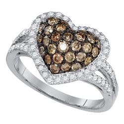 1.38 CTW Cognac-brown Color Diamond Heart Love Cluster Ring 10KT White Gold - REF-79W4K