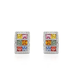 5.36 CTW Multi-Color Sapphire & Diamond Earrings 18K White Gold - REF-113M2F