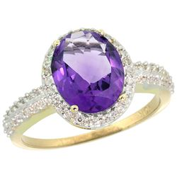 Natural 2.56 ctw Amethyst & Diamond Engagement Ring 10K Yellow Gold - REF-32F7N