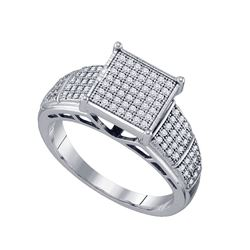 0.33 CTW Diamond Wide Square Cluster Ring 10KT White Gold - REF-34K4W