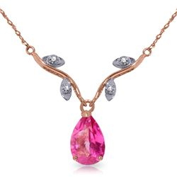 Genuine 1.52 ctw Pink Topaz & Diamond Necklace Jewelry 14KT Rose Gold - REF-31T2A