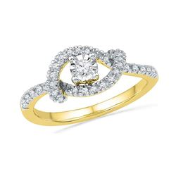 0.25 CTW Diamond Cradle Solitaire Promise Bridal Ring 10KT Yellow Gold - REF-24H2M