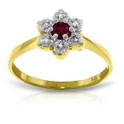 Genuine 0.23 ctw Ruby & Diamond Ring Jewelry 14KT Yellow Gold - REF-30P6H