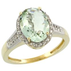 Natural 2.49 ctw Green-amethyst & Diamond Engagement Ring 10K Yellow Gold - REF-31A9V