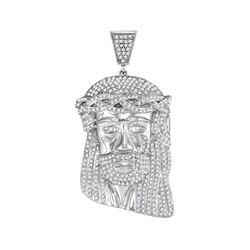1.35 CTW Mens Diamond Jesus Head Messiah Charm Pendant 10KT White Gold - REF-82F4N