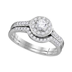 0.55 CTW Diamond Halo Bridal Engagement Ring 14KT White Gold - REF-71W9K