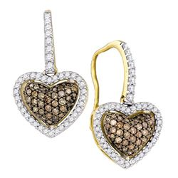 0.60 CTW Cognac-brown Color Diamond Heart Dangle Earrings 10KT Yellow Gold - REF-37Y5X