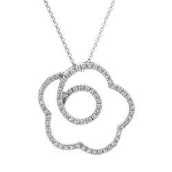 0.62 CTW Diamond Necklace 18K White Gold - REF-91X3R